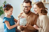 Family Savings, Budget Planning, Childrens Pocket Money. Family With Piggy Bank poster