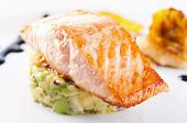 Salmon steak with avocado tatar