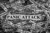 Panic Attack. Torn Pieces Of Paper With The Word Panic Attack. Concept Image. Black And White. Close poster