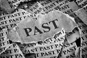 Past. Torn Pieces Of Paper With The Word Past. Old Paper. Black And White. Closeup. poster