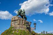 Monument to famous Ukrainian Hetman Bogdan Khmelnitsky on Sofia square in Kiev, Ukraine. Translation poster
