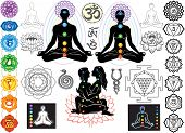 stock photo of sanskrit  - Chakras and esoteric symbols - JPG