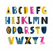 Cute Childish Latin Font Or Funky English Alphabet Decorated With Dots And Scribble. Colorful Textur poster