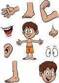 Cartoon kid and body parts. Vector illustration with simple gradients. Each element on a separate la