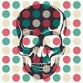 Artistic concept with skull. Vector illustration.