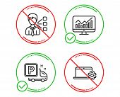 Do Or Stop. Statistics, Truck Parking And Third Party Icons Simple Set. Notebook Service Sign. Finan poster