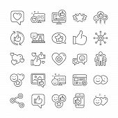 Social Media Line Icons. Set - Share Network, Rating And Social Links Linear Icons. Heart, Feedback  poster
