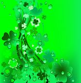 stock photo of four leaf clover  - green background - JPG