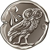 Vector Ancient Greek Money Silver Coin Drachma