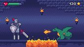 Pixel Art Game Level. Hero Warrior Fights 8 Bit Dragon, Pixels Video Games Levels Scene Landscape An poster