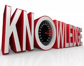The word Knowledge with a speedometer in it symbolizing the fact that learning and gathering information is power and drives you to success