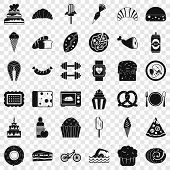 Calories Icons Set. Simple Style Of 36 Calories Vector Icons For Web For Any Design poster