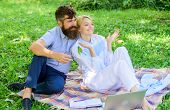Couple With Laptop Relax Natural Environment. Family Enjoy Relax Nature Background. Couple Bearded M poster