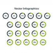 Set Of Pie Chart Infographic Elements. 0, 5, 10, 15, 20, 25, 30, 35, 40, 45, 50, 55, 60, 65, 70, 75, poster