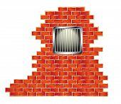 Jail window with bars on brick wall