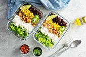 Healthy Green Mexican Inspired Meal Prep With Chicken, Rice, Beans, Corn, Salad poster