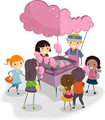 Illustration of Kids Buying Cotton Candy