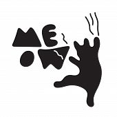 Vector Illustration Of A Cartoon Cat Scratching Wall. Cat Scratches Letters With The Phrase Meow. Do poster