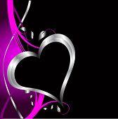 Un púrpura corazones fondo de día de San Valentín con corazones de plata y flores sobre un fondo negro