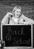 Teacher With Clock At Blackboard. Time. Study And Education. Modern School. Knowledge Day. Woman In  poster