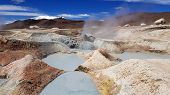 Sol De Manana Geysers And Geothermal Area In The Andean Plateau In Bolivia. This Area Is Characteriz poster