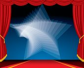 vector entertainment red carpet background with twirl star