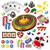 The set of vector casino elements or icons including roulette wheel, playing cards, chips, dice  and