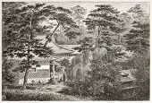 British legation's garden in Yedo (Tokyo). Created by Lancelot after photo by unknown author, publis