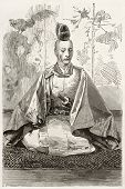 Mikado's officer old engraved portrait. Created by Bayard after photo of unknown author, published o