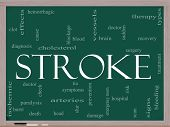 foto of hemorrhage  - A Stroke word cloud concept on a blackboard with terms such as brain bleed signs blockage and more - JPG