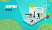 Online Shopping Landing Page. Flat People Characters With Shopping Bags Website Template.concepts Of poster