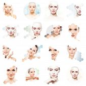 Collage of female portraits. Healthy faces of young women. Spa, face lifting, plastic surgery collag poster