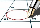 Calender Date Circled With Red Pen