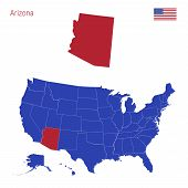The State Of Arizona Is Highlighted In Red. Blue Vector Map Of The United States Divided Into Separa poster