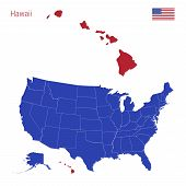 The State Of Hawaii Is Highlighted In Red. Blue Vector Map Of The United States Divided Into Separat poster