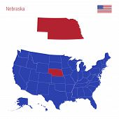 The State Of Nebraska Is Highlighted In Red. Blue Vector Map Of The United States Divided Into Separ poster