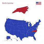 The State Of North Carolina Is Highlighted In Red. Blue Vector Map Of The United States Divided Into poster