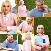Collage of mature man and woman during training course