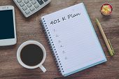 401k Plan Text On Book Note With Cup Of Coffee, Pen And Smartphone. poster