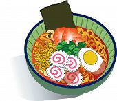 Tasty and Spicy Ramen in a Bowl isolated on white background poster