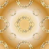 Seamless Classic Vector Golden Pattern. Seamless Pattern On Orange And Beige Colors With Golden Elem poster