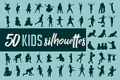 50 Kids Silhouette Collection Vector - Black Silhouettes poster