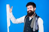 Perfect Tie For Business As Well As Pleasure. Happy Man Smiling With Luxury Tie. Man With Long Beard poster