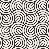Vector Seamless Pattern. Concentric Semi-circles. Geometric Striped Ornament. Round Lines Background poster