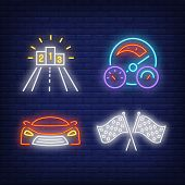 Racing Car, Flags, Speedometer And Winners Podium Neon Signs Set. Car Racing, Entertainment And Spor poster