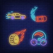 Racing Cars, Wheel On Fire And Speedometer Neon Signs Set. Car Racing, Entertainment And Sport Desig poster