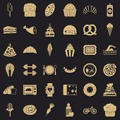 Sweet Calories Icons Set. Simple Style Of 36 Sweet Calories Vector Icons For Web For Any Design poster