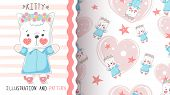 Cute Teddy Kitty - Seamless Pattern. Hand Draw poster