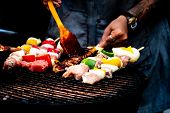Summer Or Spring Barbecue Outdoors Close Up Mouth Watering Gourmet Barbecue On Wooden Chopping Board poster