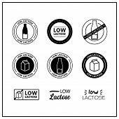 Low Lactose Icons On White Background. Low Actose Drawn Isolated Sign Icon Set. Healthy Lettering Sy poster
